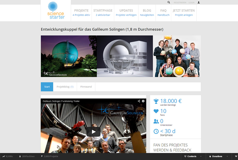 Screenshot des Galileum Solingen Crowdfundingprojekts aud sciencestarter.de
